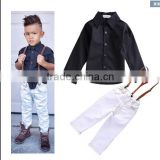 Foreign Trade Children Wholesale F 1737 Spring Autumn New Style Boy Straps Child Suit Shirt+Straps +Pants 3pcs Sets