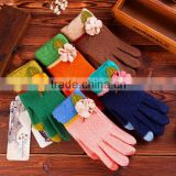 One Flower Touch Screen knitted gloves fingers fashion ladies gloves, full finger gloves