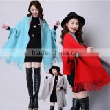 New spring women's double hair coat knitting wool cloak Cape fringed bat sleeve sweater coat