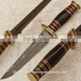 Damascus blade brass booster and Buffalo horn handle