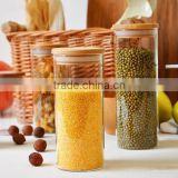 2015 new product different size of glass jar with bamboo lid,airtight food container