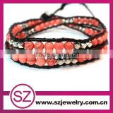Best-selling handmade pink turquoise beads leather bracelet wholesale