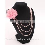 Trendy Wholesale Pink See Beads Flower Jewelry Layer Necklace