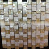 brick pattern Chinese river shell mix gold lip mother of pearl mosaic tile suppplied on magnesium with joints