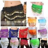 2016 New Belly Dance Skirt Scarf Hip Wrap Belt Chiffon silver golden coins scarves13 colors available