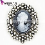 Crystal Rhinestone Vintage Style Fashion Victorian Style Cameo Brooch