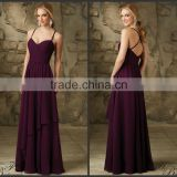 2015 Latset Design Formal Long Sexy Ruched Spaghetti Straps Bridesmaid Dress For Adult HA-098