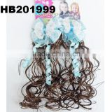 cute baby headband curl hair extensions with sky blue flower ribbon bow