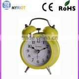Quartz Analog Type and metal Material pretty mini travel alarm clock with light