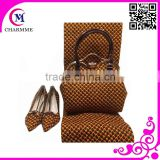 Wax Printed Set Design WBS-0018 coffee color wax fabric and shoes matching bags for party /wedding Dress