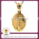 Birthday Gift Wholesales Gold Plated Stainless Steel Christ Blessed Virgin Mother Mary Madonna Catholic Miraculous Medal Pendant