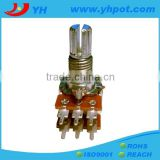 jiangsu 13mm dual gang rotary 200k ohm potentiometer with metal shaft
