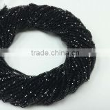 #MZZ Natural Semi-Precious Roundel Faceted Loose Gemstone Beads Black Spinel