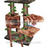 Natural pet products banana leaf wooden cat tree