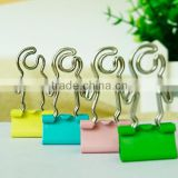 Wholesale price Promotional gifts customer logo metal colorful human shape binder clips 25mm