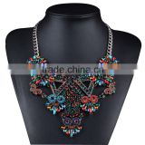 Crystal Resin Drop Flower Statement Necklace For Bridal Party Women Accessories Jewelry Big Bib Necklaces 3 Colors