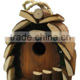 hanging wooden bark bird house 2015 new design