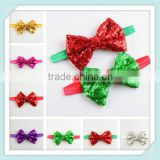 HOT SALE!! Christmas hair accessory bow with headband,glitter sequin bow head wraps
