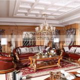 Luxurious French Rococo Brown Leather Wooden Hand Carved Living Room Sofa, Italian Palace Furniture(MOQ=1 SET)