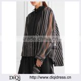 Wholesale Women Apparel Open-back Cotton Pique-paneled Striped Twill and Silk-organza Shirt(DQE0389T)