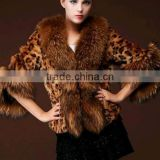 european american high quality knitted mink fur poncho leopard printed puffy faux fur poncho for women