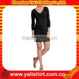Custom fashion comfortable sexy black v-neck skinny elegant women chiffon long sleeve long dress