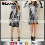 Tie Dye Tunic Dress Long Sleeve Ruffle Tunic Soft Dress With Cutout Detail On Back Backless T-shirt