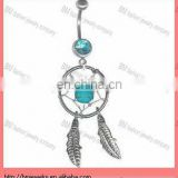 2013 new 316l stainless steel hand made dream catcher belly button navel ring in blue color