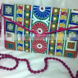 hot sale fancy beaded mirror women's girl's embroidery work hand made vogue indian clutch bag
