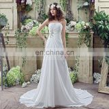 Wholesale Strapless Lace-Up Beaded Chiffon Wedding Dresses SQS035