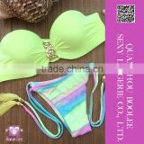 New summer Hot Sexy Yellow Bandeau Top and Tassel Tie Bottom Brazilian bikini