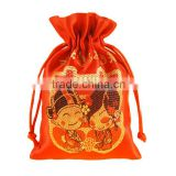 factory supply red drawstring wedding gift bag, gift pouch