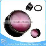 TP011448 new arrive stainless steel body piercing pink imitation cat's eye stone ear plug