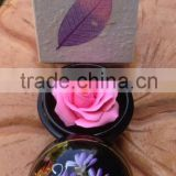 Thai carving soap Flower high quality Mango wood container with paint on top with Mulberry paper silk box