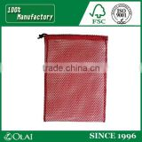 Durable wholesale cheap polyester draw string mesh bag with tag