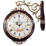 Double room large European clock watch watch modern fashion creative mute two wooden clock quartz clock zx