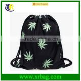 Men's Daypacks Print Green Leaves Hemp Backpack Travel Sports Cotton Canvas Drawstring Bag