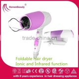 2 Speed Settings and Plastic Material Home Use Foldable Hair Dryer with Ionic and Infrared function