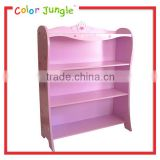 Best quality wood rack dolls display shelf, portable book shelf for kids