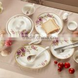 embosed gold rim rose design bone china ceramic hot product container for soup