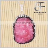 Women's Natural Irregular Freeform Drusy Druzy Geode Agate Necklace Pendant
