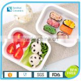 Ceramic food container,2 Compartments lunch food storage container,rectangle ceramic bento box
