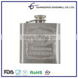 3oz Stainless Steel Stamp Logo Hip Flask