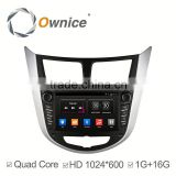 Ownice Wholesales Quad Core Android 4.4 car video player For Hyundai Verna Accent Solaris built in wifi support rear camera