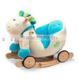 Plush horse baby Rocking Horse Musical Rocker with wheels New cute and beautiful wooden chair