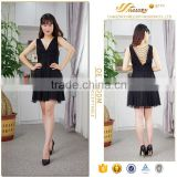 Online Shopping black colour V back pearl beaded short korean girls sexy mini dress
