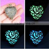 30mm Bronze Heart Locket Charm Pendant Glow In Dark Necklace