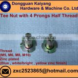 4 Prongs Tee Nut; T Nut (Half Threaded) for furniture with Bright (White) /Blue /Yellow Zinc Plated; M5, M6, M8, M10
