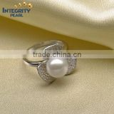 8mm round shape white color sterling silver wholesale real pearl ring