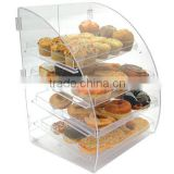 4 tray bakery clear acrylic bakery display case with cover